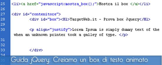 Guida jQuery: Animazione di un box di testo con jQuery