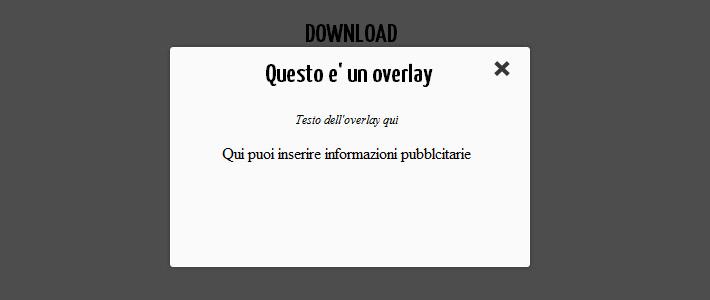 Overlay jQuery al caricamento della pagina