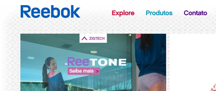 Site inspiration per e-commerce: Reebok Brazil