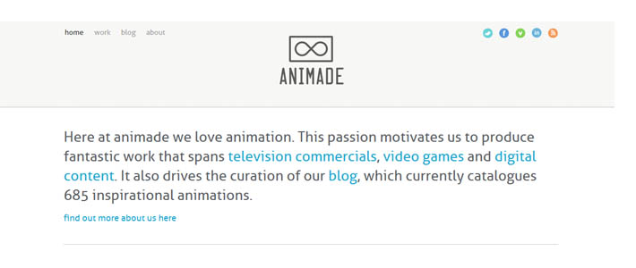 Site inspiration minimal: Animade