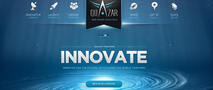 Site Inspiration per web agency: Quazar