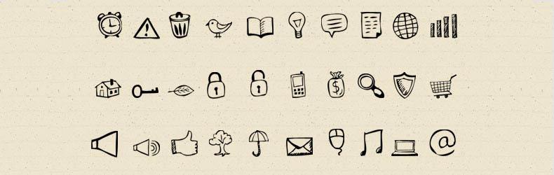 Raccolta icone hand-drawn in formato PSD